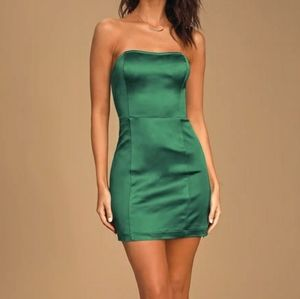 B2G1 Express Sexy Satin Emerald Green Mini Dress